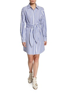 Derek Lam 10 Crosby Striped Tie-Front Shirt Dress