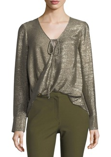 Derek Lam 10 Crosby Tie-Front Long-Sleeve Metallic Blouse