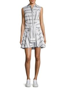 Derek Lam Tie-Front Striped Shirtdress