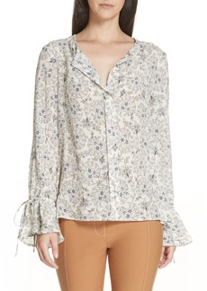 Derek Lam 10 Crosby Tie Sleeve Silk Blouse