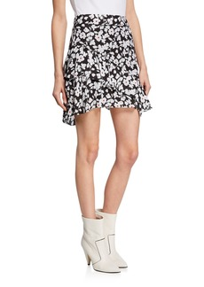 Derek Lam 10 Crosby Tiered Ruffle Floral Asymmetrical Mini Skirt