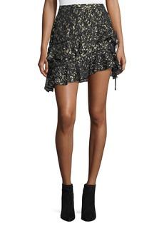 Derek Lam 10 Crosby Tiered Ruffled Silk Chiffon Skirt with Metallic