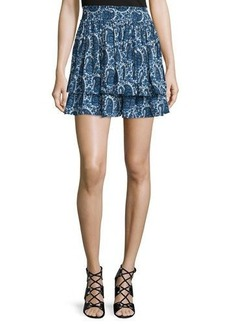 Derek Lam 10 Crosby Tiered Silk Paisley Mini Skirt