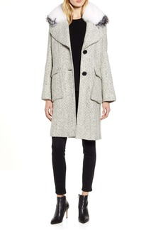 Derek Lam 10 Crosby Tweed Coat with Genuine Fox Fur Trim