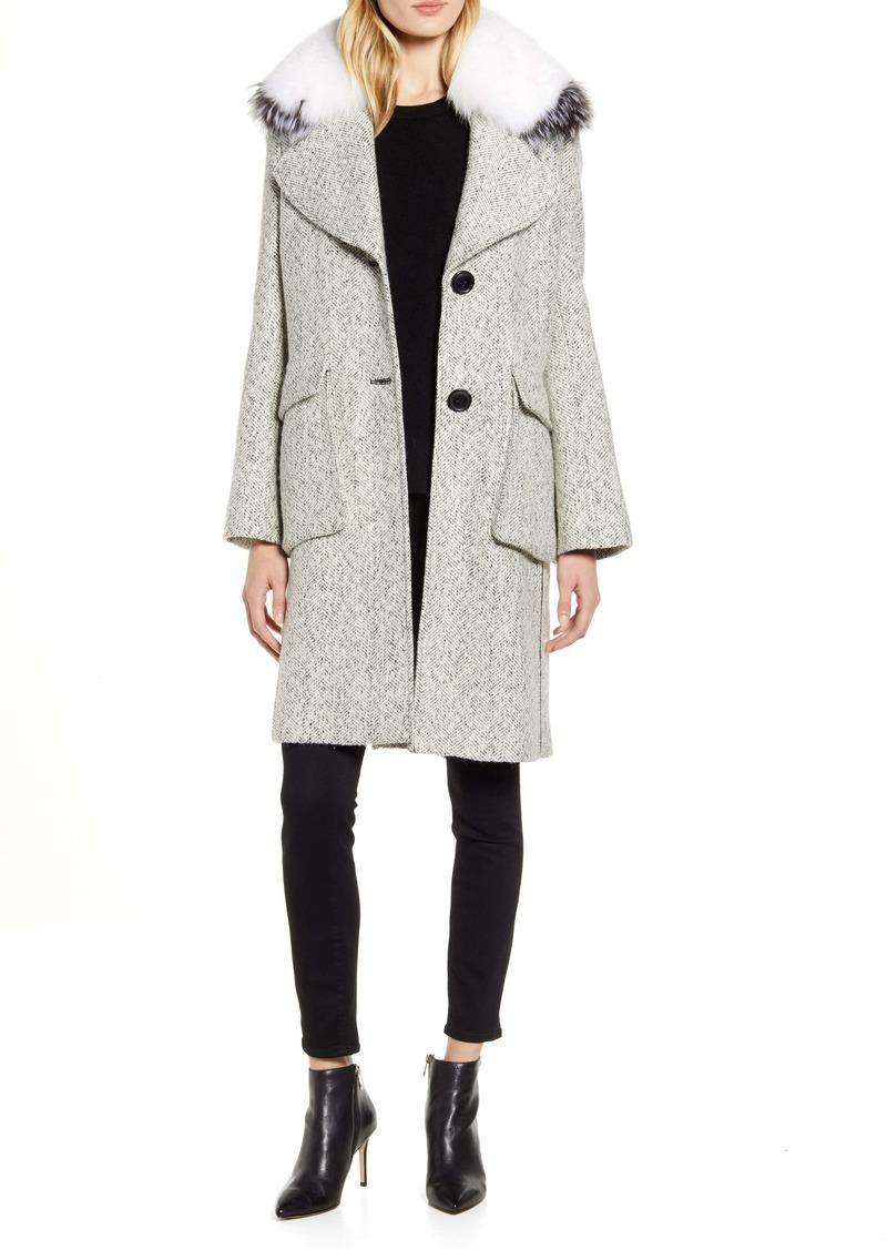 Derek Lam 10 Crosby Tweed Coat with Genuine Fox Fur Trim