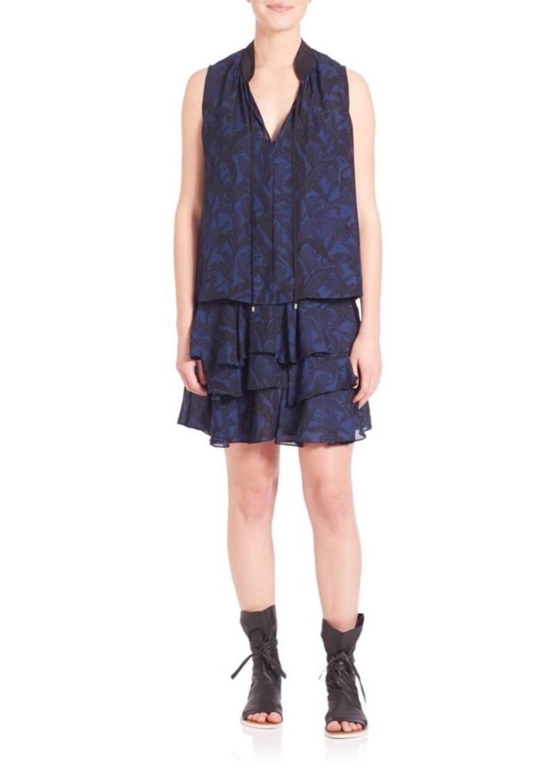 Derek Lam 10 Crosby Two-Piece Tiered Silk Printed Dress