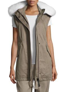 Derek Lam Utility Cotton Vest w/ Fur Hood