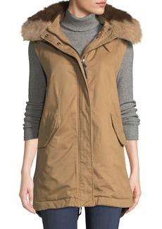 Derek Lam 10 Crosby Utility Vest w/ Detachable Fur Hood