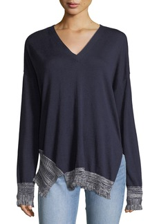 Derek Lam V-Neck Long-Sleeve Silk-Blend Pullover Sweater