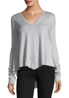 Derek Lam V-Neck Long-Sleeve Wool-Blend Pullover Top