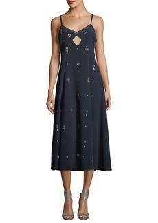 Derek Lam 10 Crosby V-Neck Sleeveless Embellished Cami Midi Dress