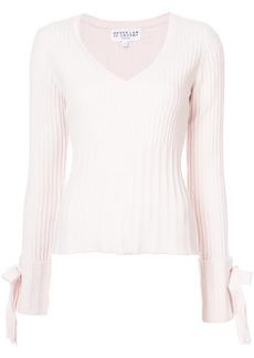 Low Price Sale Online Deals Cheap Online V-Neck Sweater with Tie Sleeve Detail - Nude & Neutrals Derek Lam 49r7ie