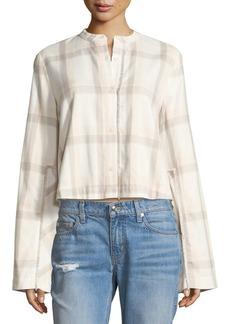 Derek Lam Wide-Sleeve Grid-Print Cropped Cotton Shirt