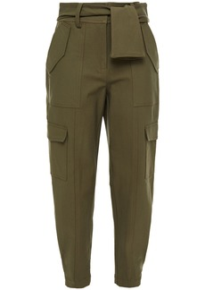 Derek Lam 10 Crosby Woman Belted Stretch-cotton Tapered Pants Army Green