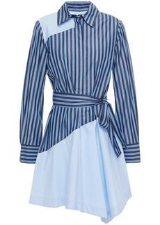 Derek Lam 10 Crosby Woman Belted Striped Cotton-poplin Mini Shirt Dress Light Blue