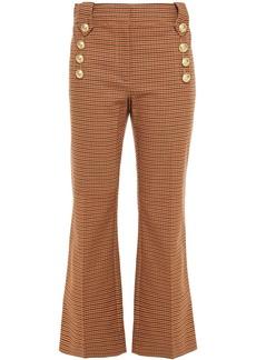 Derek Lam 10 Crosby Woman Houndstooth Cotton-blend Twill Kick-flare Pants Sand