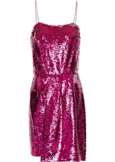 Derek Lam 10 Crosby Woman Pleated Sequined Woven Mini Dress Fuchsia