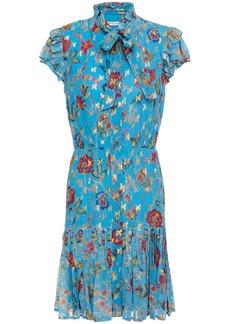 Derek Lam 10 Crosby Woman Pussy-bow Pleated Printed Metallic Fil Coupé Voile Mini Dress Azure