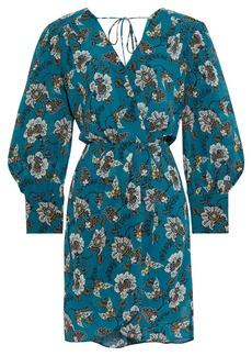 Derek Lam 10 Crosby Woman Wrap-effect Printed Cotton And Silk-blend Crepon Mini Dress Teal