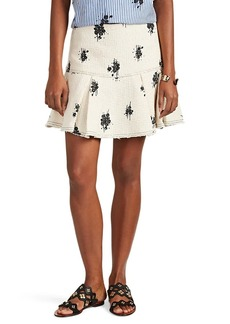Derek Lam 10 Crosby Women's Abstract-Floral Basket-Weave Tweed Flared Skirt