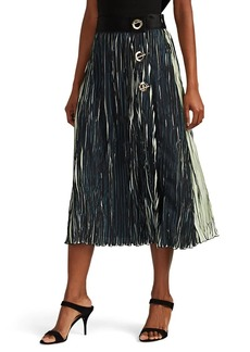 Derek Lam 10 Crosby Women's Clasp-Detailed Plissé Crepe Midi-Skirt