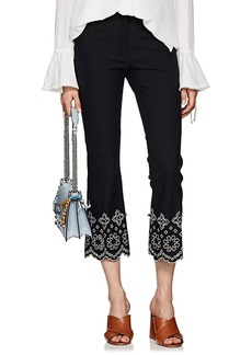 Derek Lam 10 Crosby Women's Embroidered Stretch Cotton Crop Pants