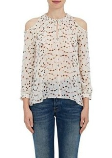 Derek Lam 10 Crosby Women's Floral Silk Chiffon Cutout-Shoulder Blouse