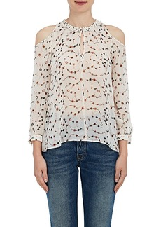 Derek Lam 10 Crosby Women's Floral Silk Chiffon Cutout-Shoulder Blouse
