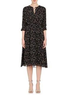Derek Lam 10 Crosby Women's Floral Silk Crepe Lace-Up Dress