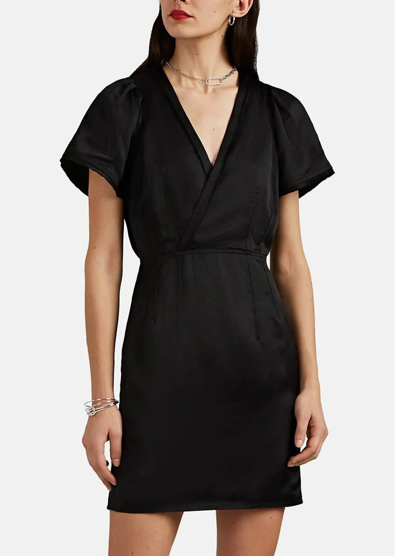 Derek Lam 10 Crosby Women's Frayed-Edge Washed Satin Sheath Dress
