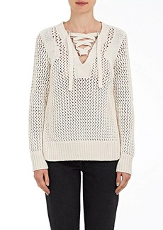 Derek Lam 10 Crosby Women's Lace-Up Open-Knit Cotton Sweater