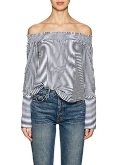 Derek Lam 10 Crosby Women's Off-The-Shoulder Striped Cotton Poplin Blouse
