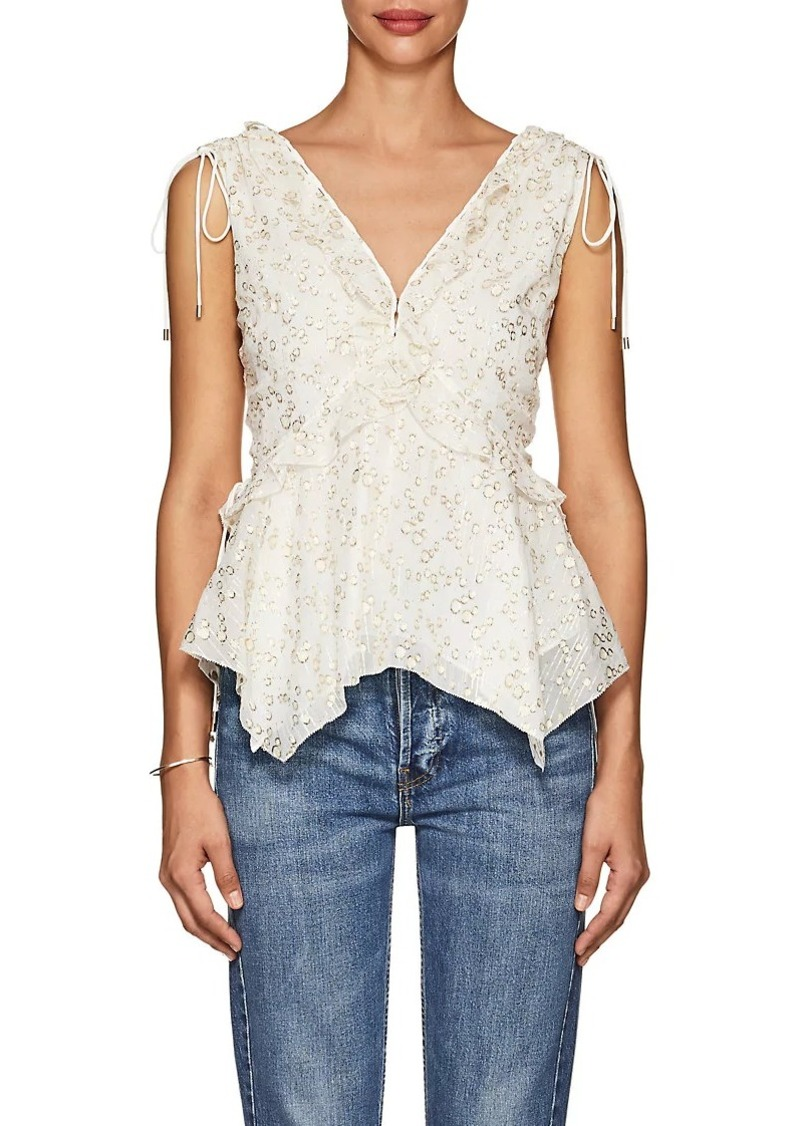 Derek Lam 10 Crosby Women's Silk-Blend Fil Coupé Blouse
