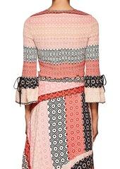 Derek Lam 10 Crosby Women's Smocked Geometric-Print Silk Crop Blouse