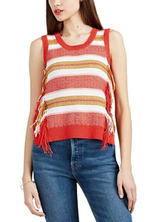 Derek Lam 10 Crosby Women's Striped Cotton-Blend Fringed Sleeveless Sweater