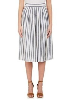 Derek Lam 10 Crosby Women's Striped Linen-Cotton Full Midi-Skirt