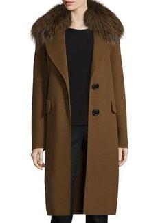 Derek Lam 10 Crosby Wool-Blend Coat w/ Fox Fur