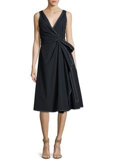 Derek Lam 10 Crosby Wrap Cotton Dress W/ Pleating