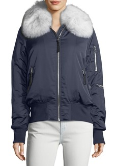 Derek Lam 10 Crosby Zip-Front Long-Sleeve Bomber Jacket w/ Fox Fur