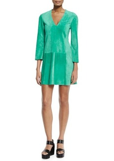 Derek Lam 3/4-Sleeve V-Neck Shift Dress