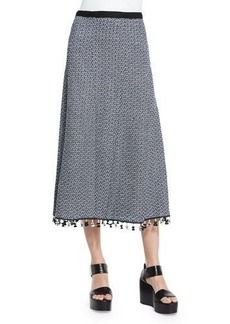 Derek Lam A-Line Crochet Skirt W/Fringe Hem