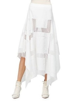 Derek Lam A-Line Lace-Inset Handkerchief Skirt