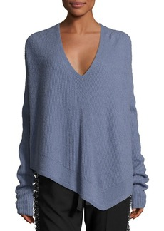 Derek Lam Asymmetric Ribbed Cashmere-Blend Sweater