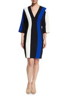 Derek Lam Batwing-Sleeve Colorblock V-Neck Dress