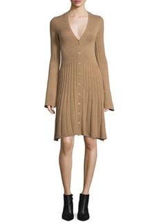 Derek Lam Bell-Sleeve Cashmere Cardigan Dress