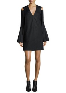 Derek Lam Bell-Sleeve Cold-Shoulder Dress