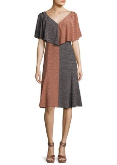Derek Lam Bicolor Handkerchief-Top Silk Midi Dress