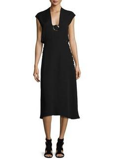 Derek Lam Buckle Sleeveless Cutout Midi Dress