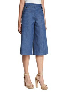 Derek Lam Button-Tab Denim Culotte Pants