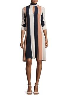Derek Lam Colorblock Long-Sleeve Keyhole Dress